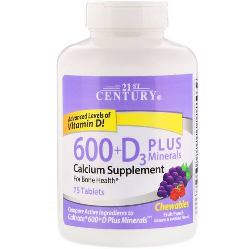 21st Century, 600+D3 Plus Minerals, Fruit Punch, 75 Chewables Review