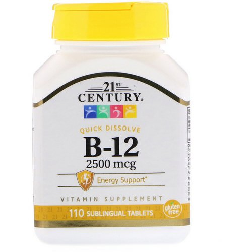 21st Century, B-12, 2,500 mcg, 110 Sublingual Tablets Review