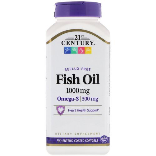 21st Century, Fish Oil, Reflux Free, 1,000 mg, 90 Enteric Coated Softgels Review