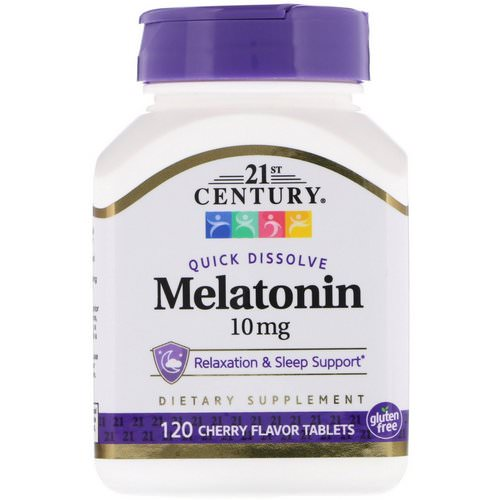 21st Century, Melatonin, Cherry Flavor, 10 mg, 120 Quick Dissolve Tablets Review