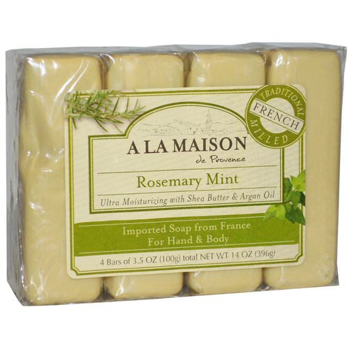A La Maison de Provence, Hand & Body Bar Soap, Rosemary Mint, 4 Bars, 3.5 oz (100 g) Each Review
