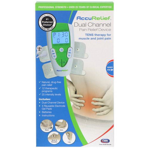 AccuRelief, Dual Channel Pain Relief Device, TENS Therapy for Muscle and Joint Pain, 1 Dual Channel Device & 4 Electrode Gel Pads Review