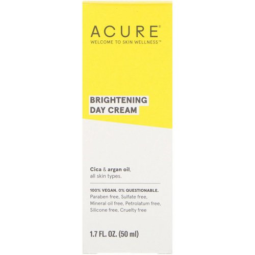 Acure, Brightening Day Cream, All Skin Types, 1.7 fl oz (50 ml) Review