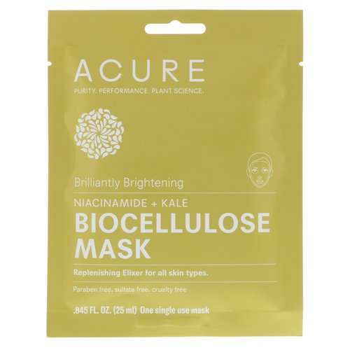 Acure, Brilliantly Brightening, Biocellulose Mask, 1 Single Use Mask, 0.845 fl oz (25 ml) Review
