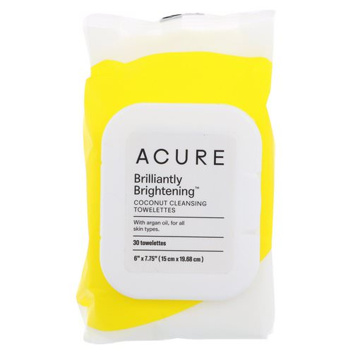 Acure, Brilliantly Brightening, Coconut Cleansing Towelettes, 30 Towelettes Review