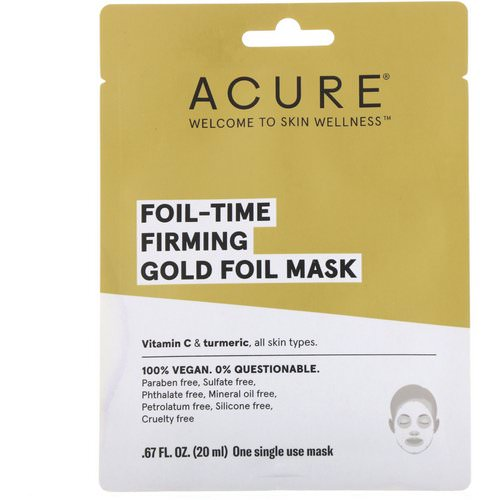 Acure, Foil-Time Firming Gold Foil Mask, 1 Single Use Mask, 0.67 fl oz (20 ml) Review