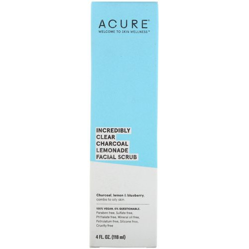 Acure, Incredibly Clear Charcoal Lemonade Facial Scrub, 4 fl oz (118 ml) Review