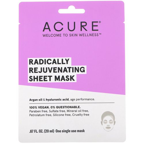 Acure, Radically Rejuvenating Sheet Mask, 1 Single Use Mask, .67 fl oz (20 ml) Review