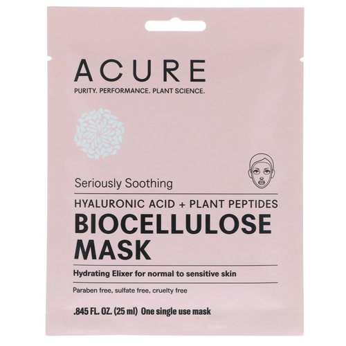 Acure, Seriously Soothing, Biocellulose Mask, 1 Single Use Mask, 0.845 fl oz (25 ml) Review