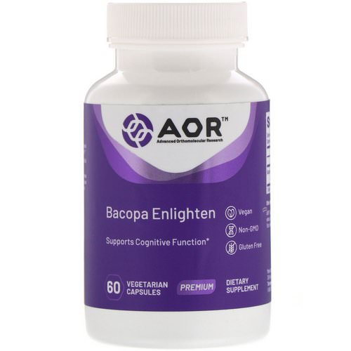 Advanced Orthomolecular Research AOR, Bacopa Enlighten, 60 Vegetarian Capsules Review