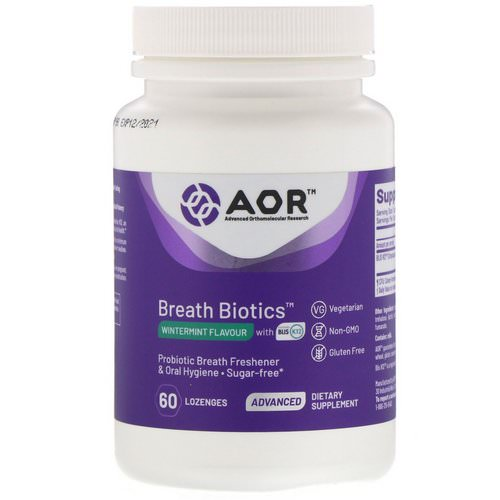 Advanced Orthomolecular Research AOR, Breath Biotics, Wintermint Flavor with Blis K12, 60 Lozenges Review