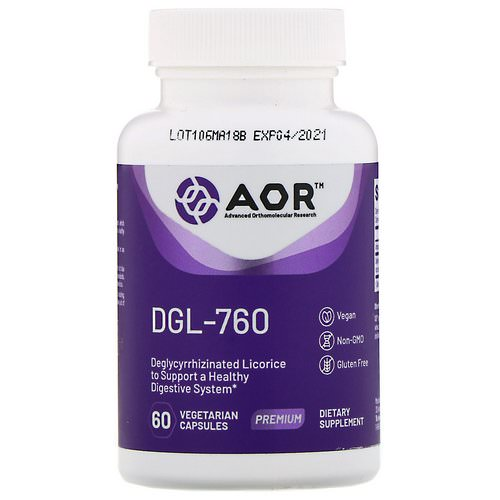 Advanced Orthomolecular Research AOR, DGL-760, 60 Vegetarian Capsules Review