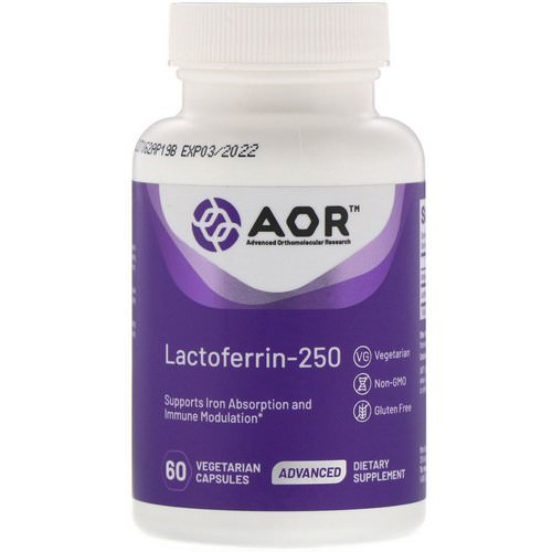 Advanced Orthomolecular Research AOR, Lactoferrin-250, 60 Vegetarian Capsules Review