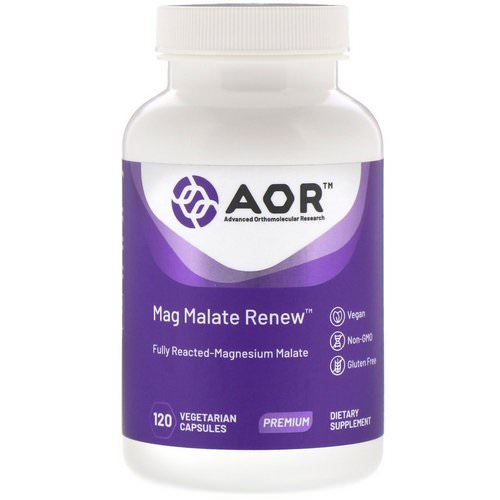 Advanced Orthomolecular Research AOR, Mag Malate Renew, 120 Vegetarian Capsules Review