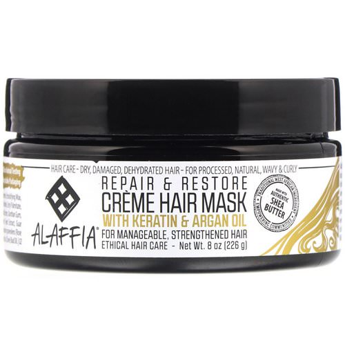Alaffia, Repair & Restore, Creme Hair Mask with Keratin & Argan Oil, 8 oz (226 g) Review