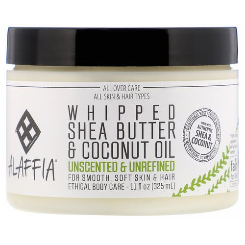 Alaffia, Whipped Shea Butter & Coconut Oil, Unscented & Unrefined, 11 fl oz (325 ml) Review