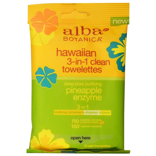 Alba Botanica, Hawaiian 3-in-1 Clean Towelettes, Pineapple Enzyme, 10 Wet Towelettes Review