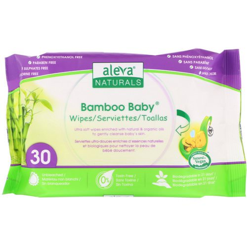 Aleva Naturals, Bamboo Baby Wipes, 30 Wipes Review