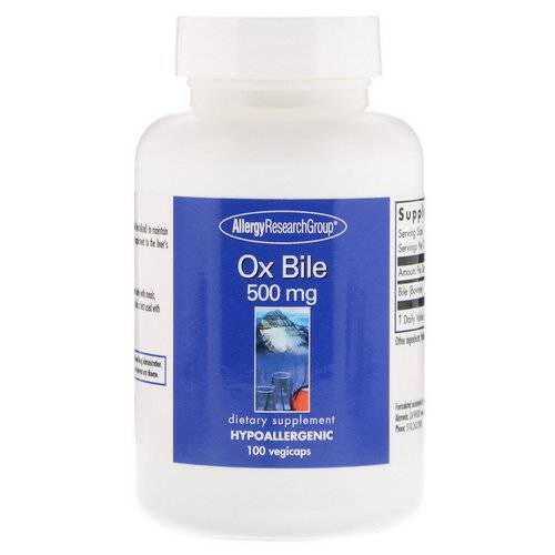 Allergy Research Group, Ox Bile, 500 mg, 100 Vegetarian Capsules Review