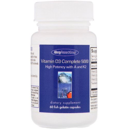 Allergy Research Group, Vitamin D3 Complete 5000, 60 Fish Gelatin Capsules Review