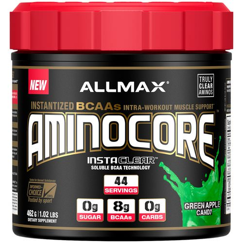 ALLMAX Nutrition, AMINOCORE, BCAA, 8G BCAAs, 100% Pure 45:30:25 Ratio, Gluten Free, Green Apple Candy, 1.02 lb (462 g) Review