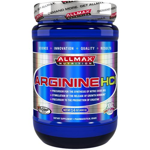 ALLMAX Nutrition, Arginine HCI Maximum Strength, Gluten-Free + Vegan + Kosher Certified, 5000 mg, 14 oz (400 g) Review