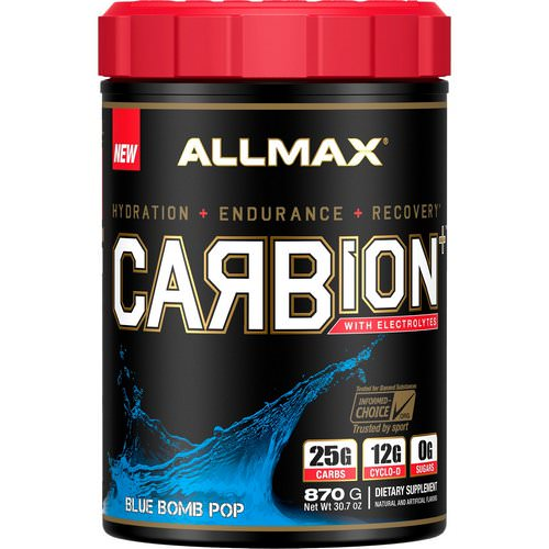 ALLMAX Nutrition, CARBion+ with Electrolytes + Hydration, Gluten-Free + Vegan Certified, Blue Bomb Pop, 1.91 lbs (870 g) Review