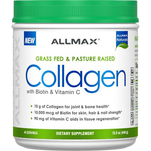 ALLMAX Nutrition, Grass Fed & Pasture Raised Collagen with 10,000 mcg Biotin + 90 mg Vitamin C, 15.5 oz (440 g) Review
