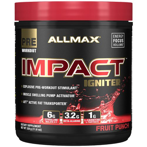 ALLMAX Nutrition, Impact Igniter Pre-Workout, Fruit Punch, 11.6 oz (328 g) Review