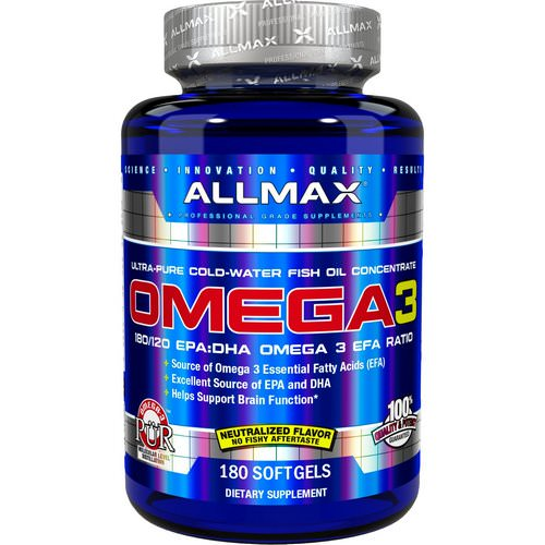 ALLMAX Nutrition, Omega-3 Fish Oil, Ultra-Pure Cold-Water Fish Oil, 180 Softgels Review
