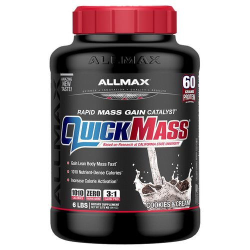 ALLMAX Nutrition, Quick Mass Rapid Mass Gain Catalyst, Cookies & Cream, 6 lbs (2.72 kg) Review