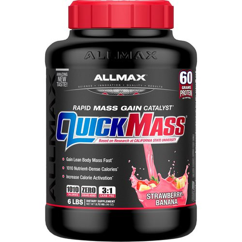 ALLMAX Nutrition, Quick Mass, Rapid Mass Gain Catalyst, Strawberry-Banana, 6 lbs (2.72 kg) Review