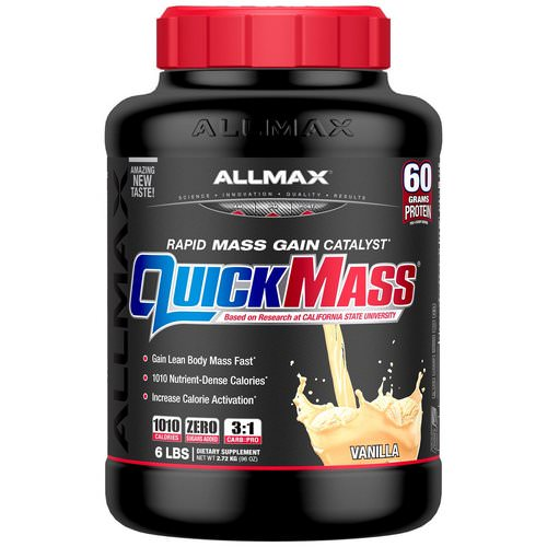 ALLMAX Nutrition, Quick Mass, Rapid Mass Gain Catalyst, Vanilla, 6 lbs (2.72 kg) Review