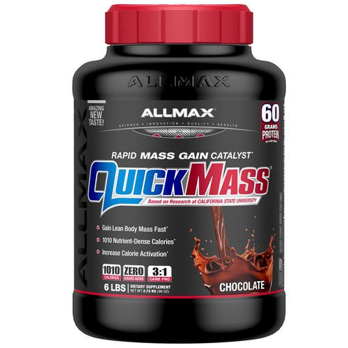 ALLMAX Nutrition, QuickMass Rapid Mass Gain Catalyst, Chocolate, 6 lbs (2.72 kg) Review