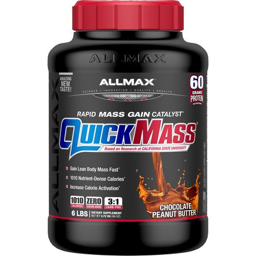 ALLMAX Nutrition, QuickMass, Rapid Mass Gain Catalyst, Chocolate Peanut Butter, 6 lbs (2.72 kg) Review