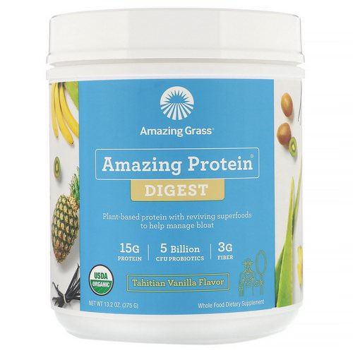 Amazing Grass, Amazing Protein, Digest, Tahitian Vanilla Flavor, 5 Billion CFU, 13.2 oz (375 g) Review