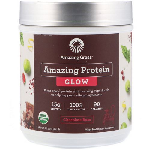 Amazing Grass, Organic Amazing Protein with Biotin, Glow, Chocolate Rose, 12.2 oz (345 g) Review