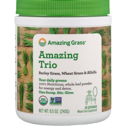 Amazing Grass, Amazing Trio, Barley Grass, Wheat Grass & Alfalfa, 8.5 oz (240 g) Review
