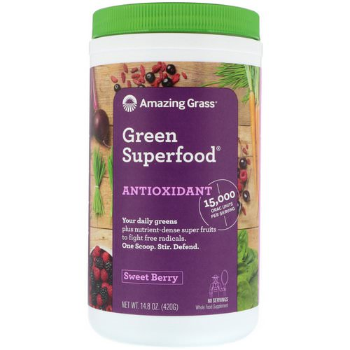 Amazing Grass, Green Superfood, Antioxidant, Sweet Berry, 14.8 oz (420 g) Review