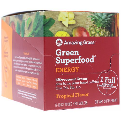Amazing Grass, Green Superfood, Effervescent Greens Energy, Tropical Flavor, 6 Tubes, 10 Tablets Each Review