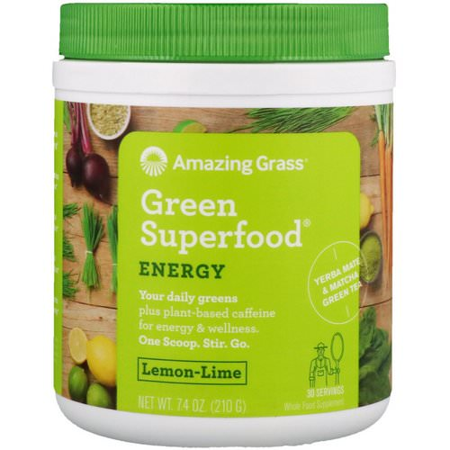 Amazing Grass, Green Superfood, Energy, Lemon Lime, 7.4 oz (210 g) Review