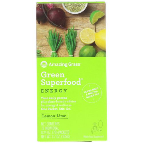 Amazing Grass, Green Superfood, Energy, Lemon Lime Flavor, 15 Individual Packets, 0.24 oz (7 g) Each Review