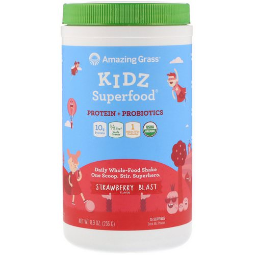 Amazing Grass, Kidz Superfood, Protein + Probiotics, Strawberry Blast, 8.9 oz (255 g) Review