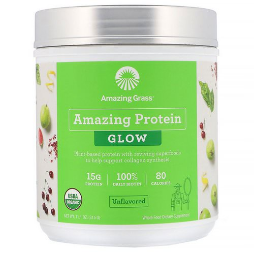Amazing Grass, Organic Amazing Protein with Biotin, Glow, Unflavored, 11.1 oz (315 g) Review