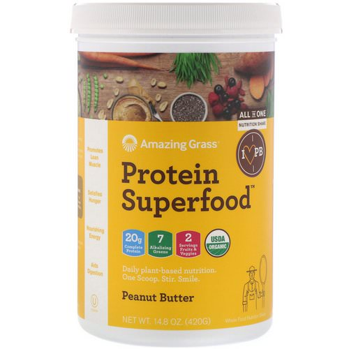 Amazing Grass, Protein Superfood, Peanut Butter, 14.8 oz (420 g) Review