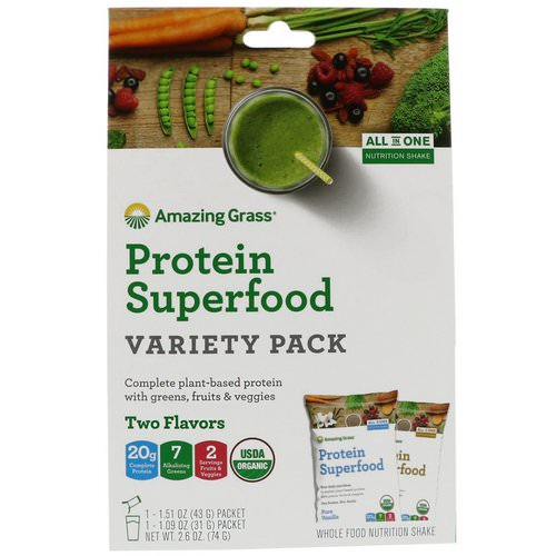 Amazing Grass, Protein Superfood Variety Pack, Two Flavors, Chocolate Peanut Butter & Pure Vanilla, 2 Packets Review