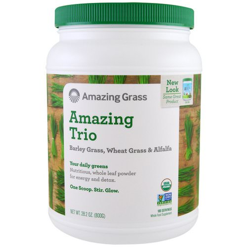 Amazing Grass, Amazing Trio, Barley Grass & Wheat Grass & Alfalfa, 1.8 lbs (800 g) Review