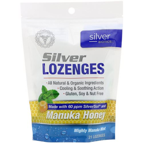 American Biotech Labs, Silver Biotics, Silver Lozenges, 60 PPM SilverSol, Mighty Manuka Mint, 21 Lozenges Review
