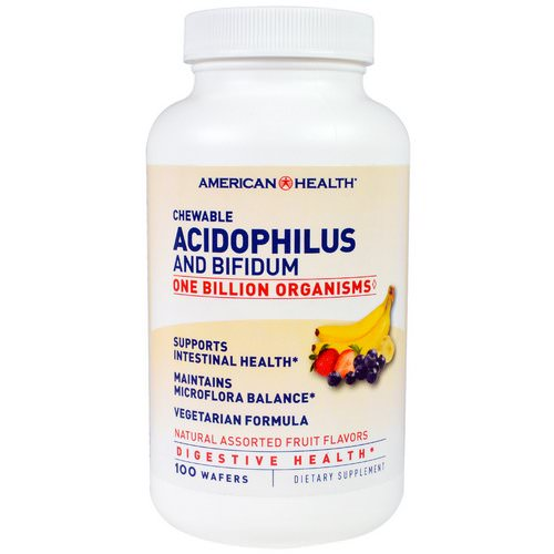 American Health, Chewable Acidophilus And Bifidium, Natural Assorted Fruit Flavors, 100 Wafers Review