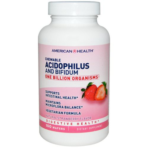 American Health, Chewable Acidophilus and Bifidum, Natural Strawberry Flavor, 100 Wafers Review